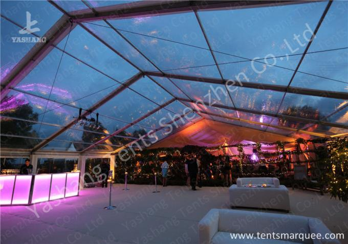 Clear Top and Wall PVC Fabric Cover Outdoor Luxury Wedding Tents with White Linings